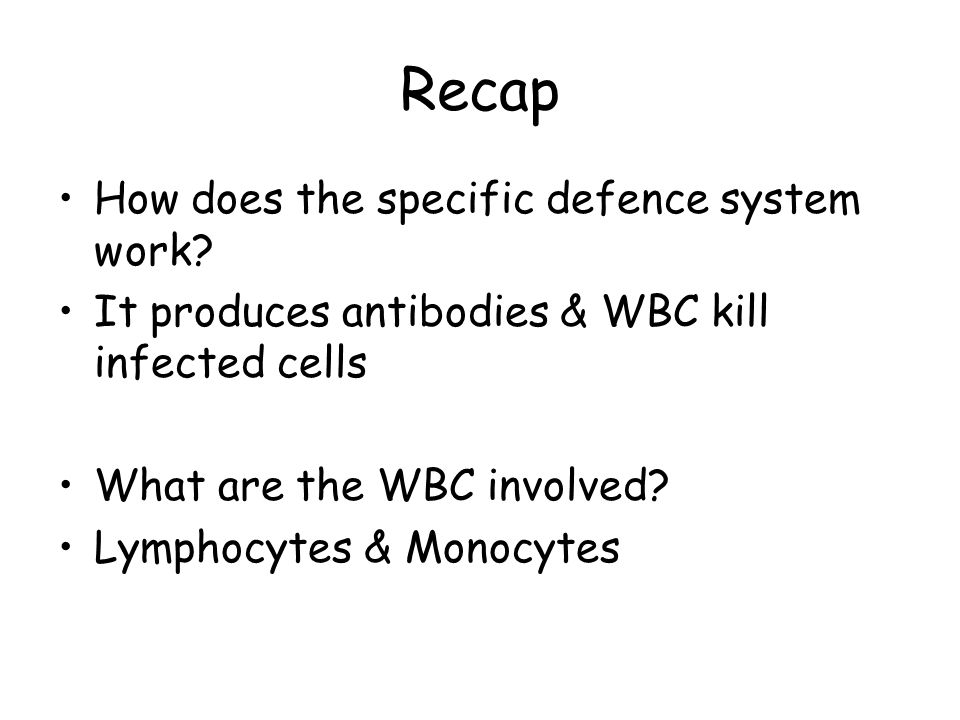 Recap How does the specific defence system work