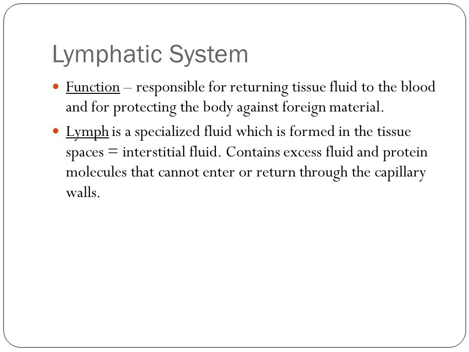 Lymphatic System Function – responsible for returning tissue fluid to the blood and for protecting the body against foreign material.