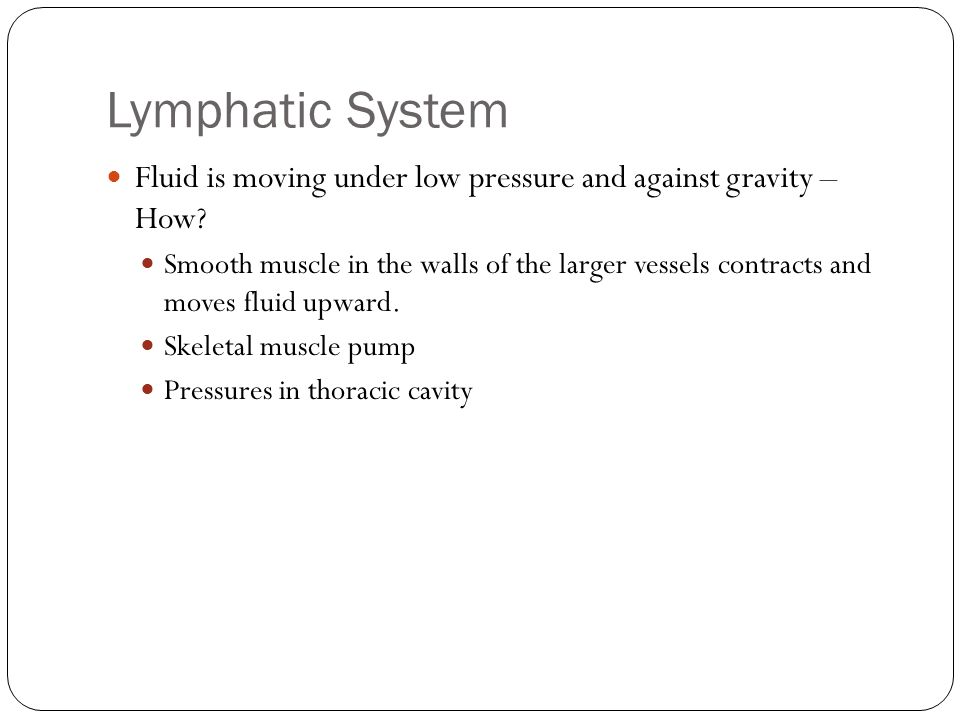 Lymphatic System Fluid is moving under low pressure and against gravity – How