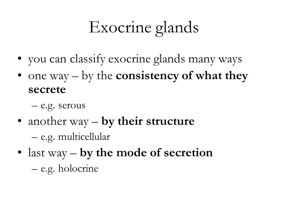 Exocrine glands you can classify exocrine glands many ways