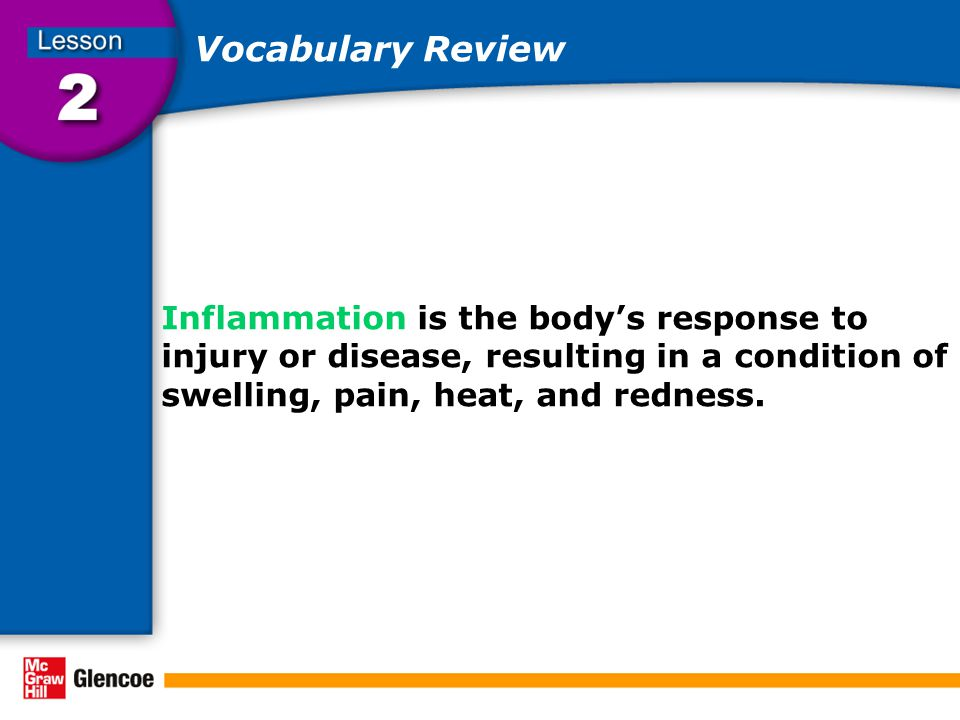 Vocabulary Review Inflammation is the body's response to injury or disease, resulting in a condition of swelling, pain, heat, and redness.