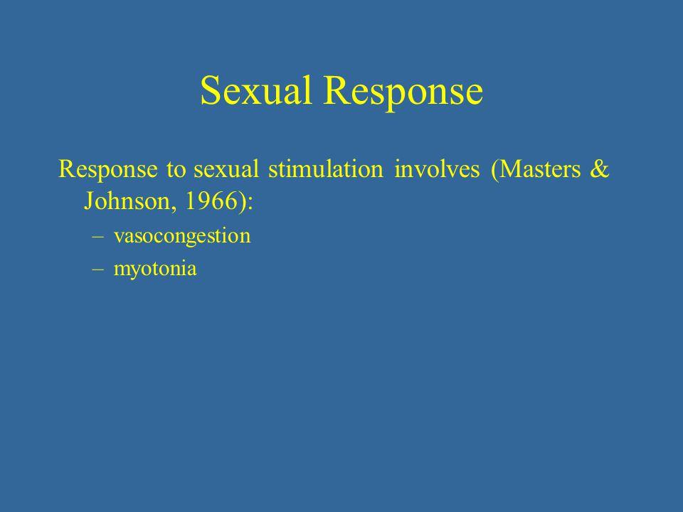 Sexual Response Response to sexual stimulation involves (Masters & Johnson, 1966): vasocongestion.