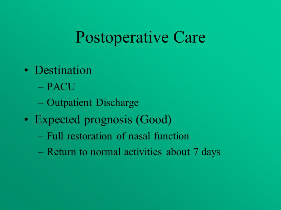 Postoperative Care Destination Expected prognosis (Good) PACU