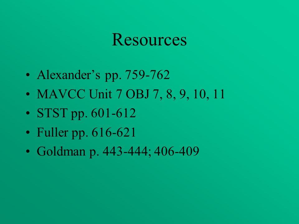 Resources Alexander's pp. 759-762 MAVCC Unit 7 OBJ 7, 8, 9, 10, 11