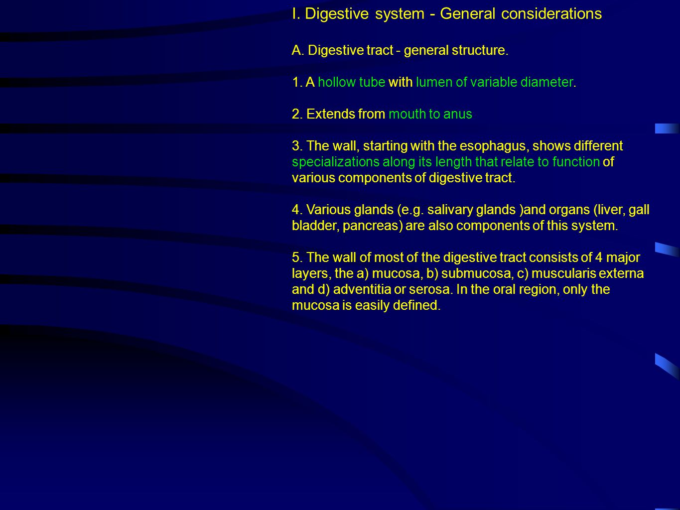 I. Digestive system - General considerations