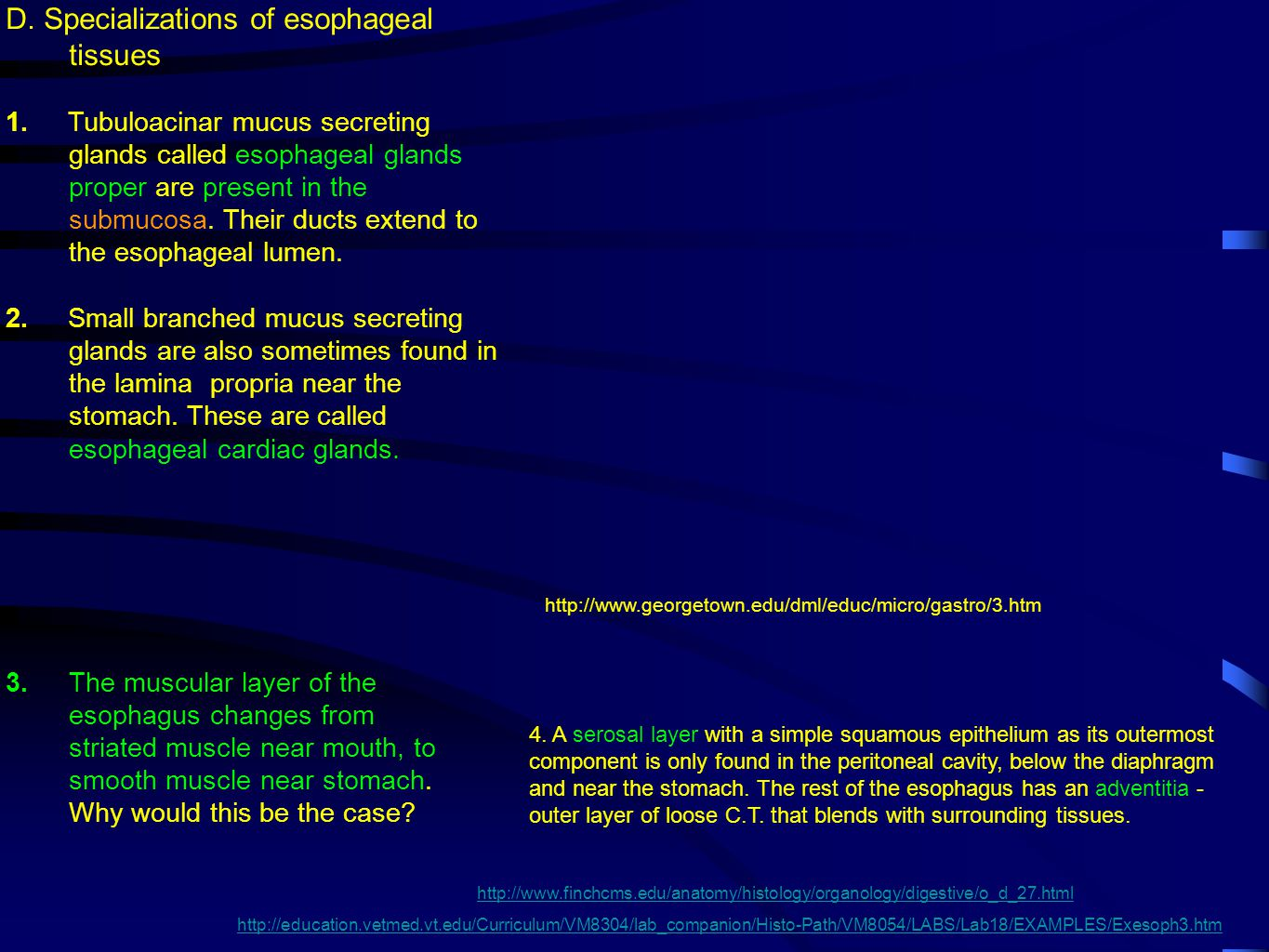 D. Specializations of esophageal tissues