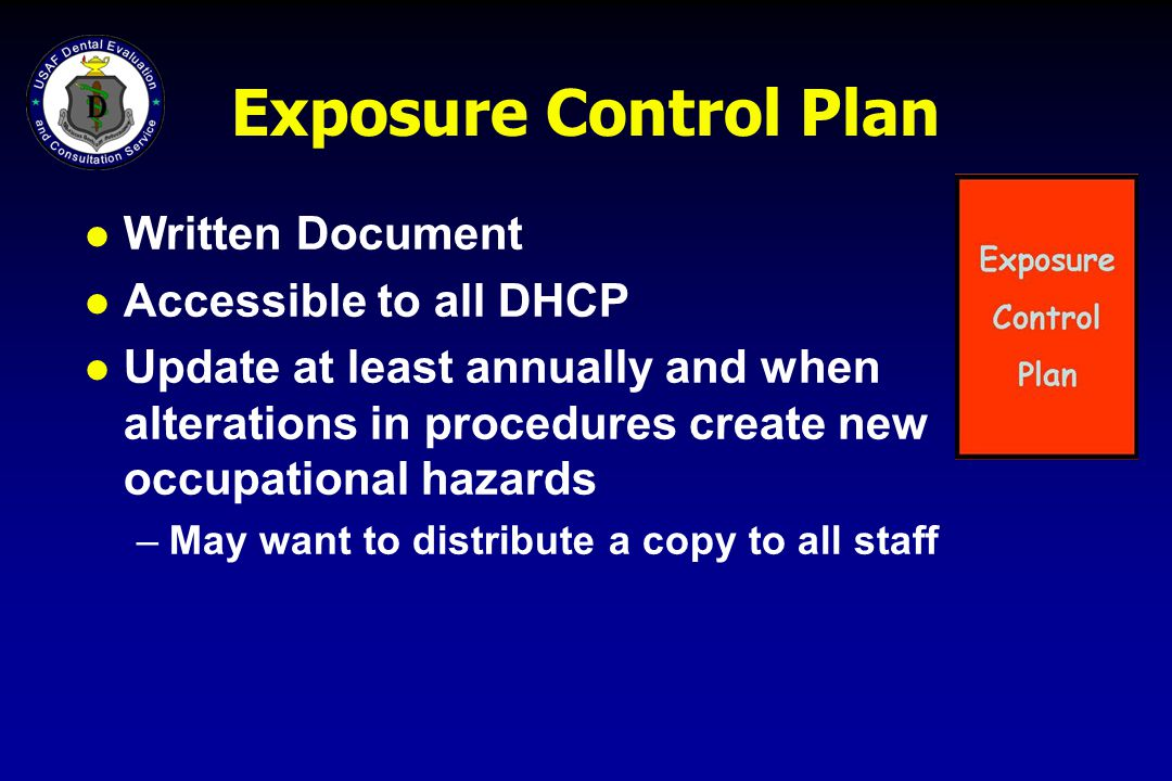 Exposure Control Plan Written Document Accessible to all DHCP