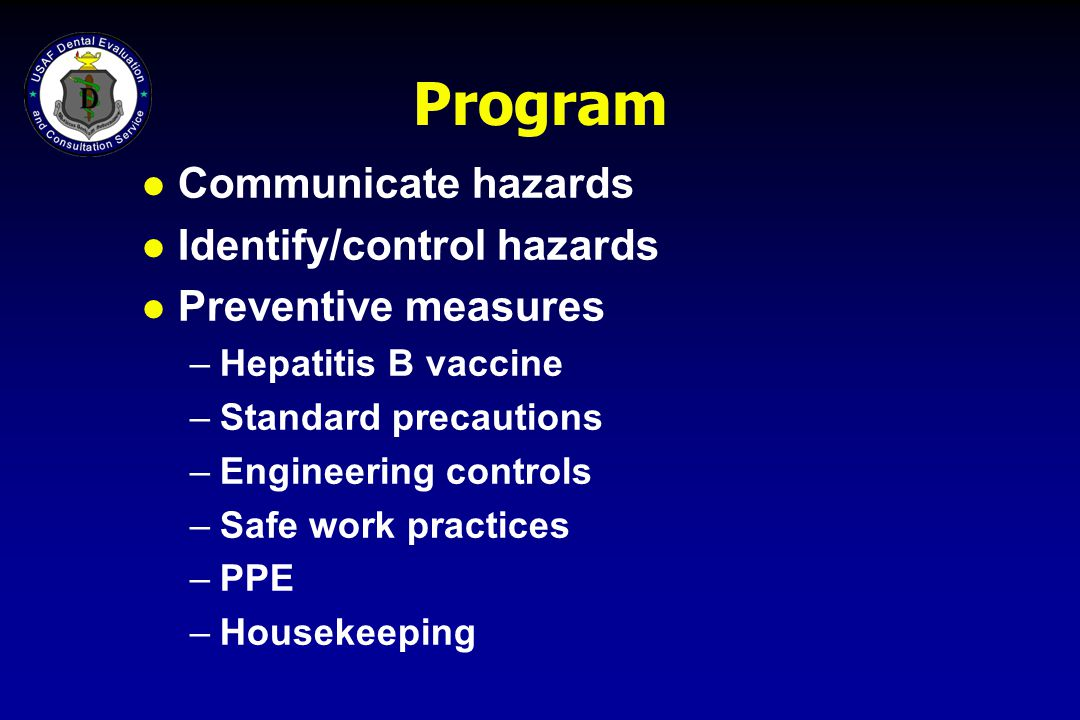 Program Communicate hazards Identify/control hazards