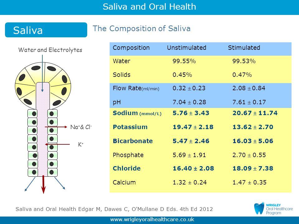 Saliva The Composition of Saliva Composition Unstimulated Stimulated