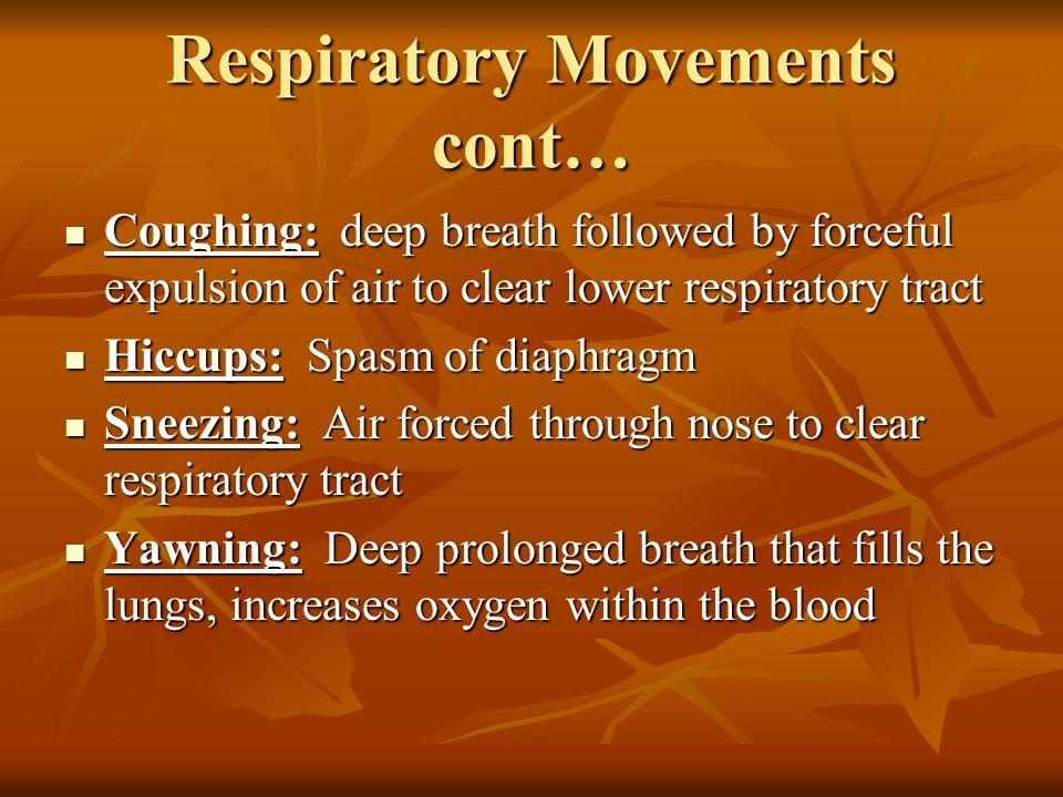 Respiratory Movements cont…