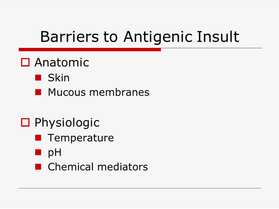 Barriers to Antigenic Insult