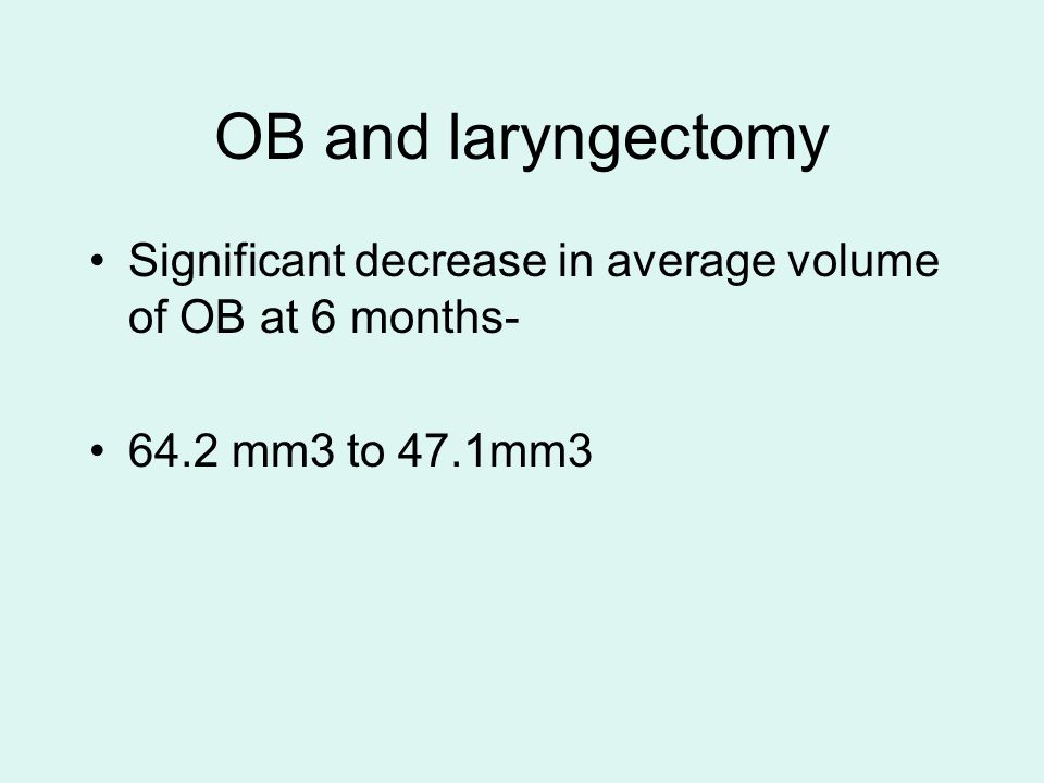 OB and laryngectomy Significant decrease in average volume of OB at 6 months- 64.2 mm3 to 47.1mm3
