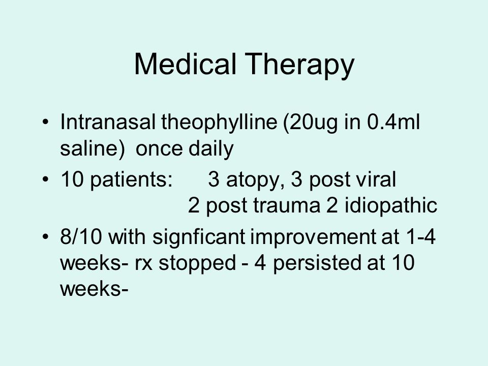 Medical Therapy Intranasal theophylline (20ug in 0.4ml saline) once daily.