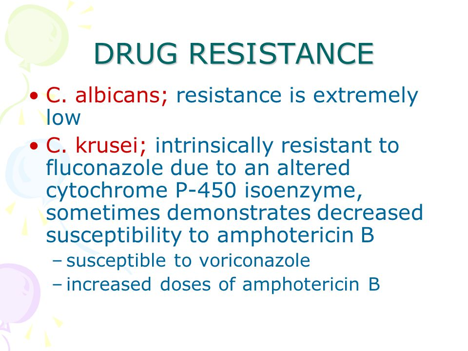 DRUG RESISTANCE C. albicans; resistance is extremely low