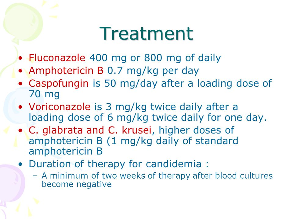 Treatment Fluconazole 400 mg or 800 mg of daily