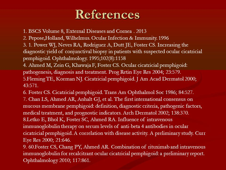 References 1. BSCS Volume 8, External Diseases and Cornea . 2013