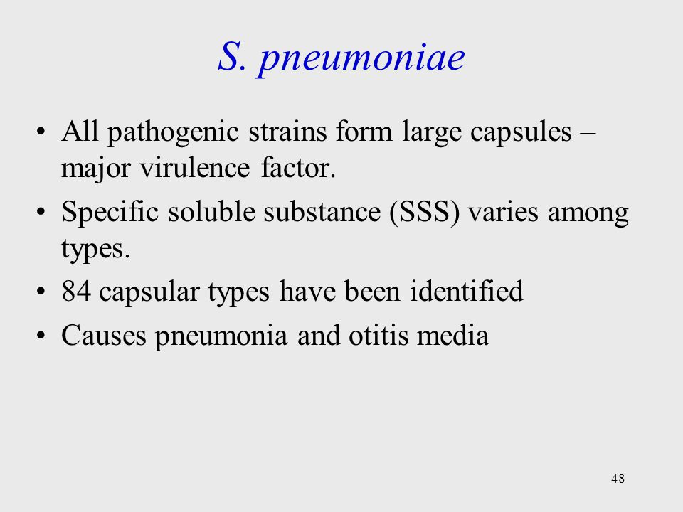 S. pneumoniae All pathogenic strains form large capsules – major virulence factor. Specific soluble substance (SSS) varies among types.
