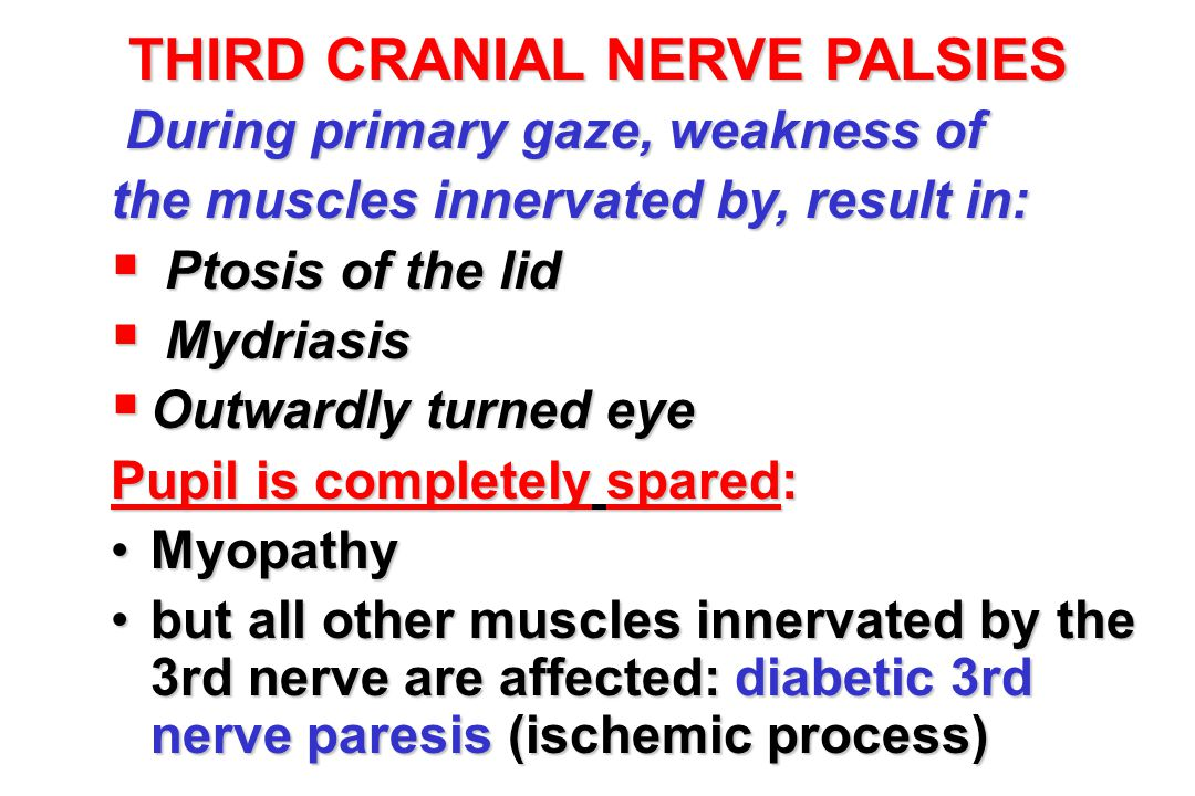 THIRD CRANIAL NERVE PALSIES
