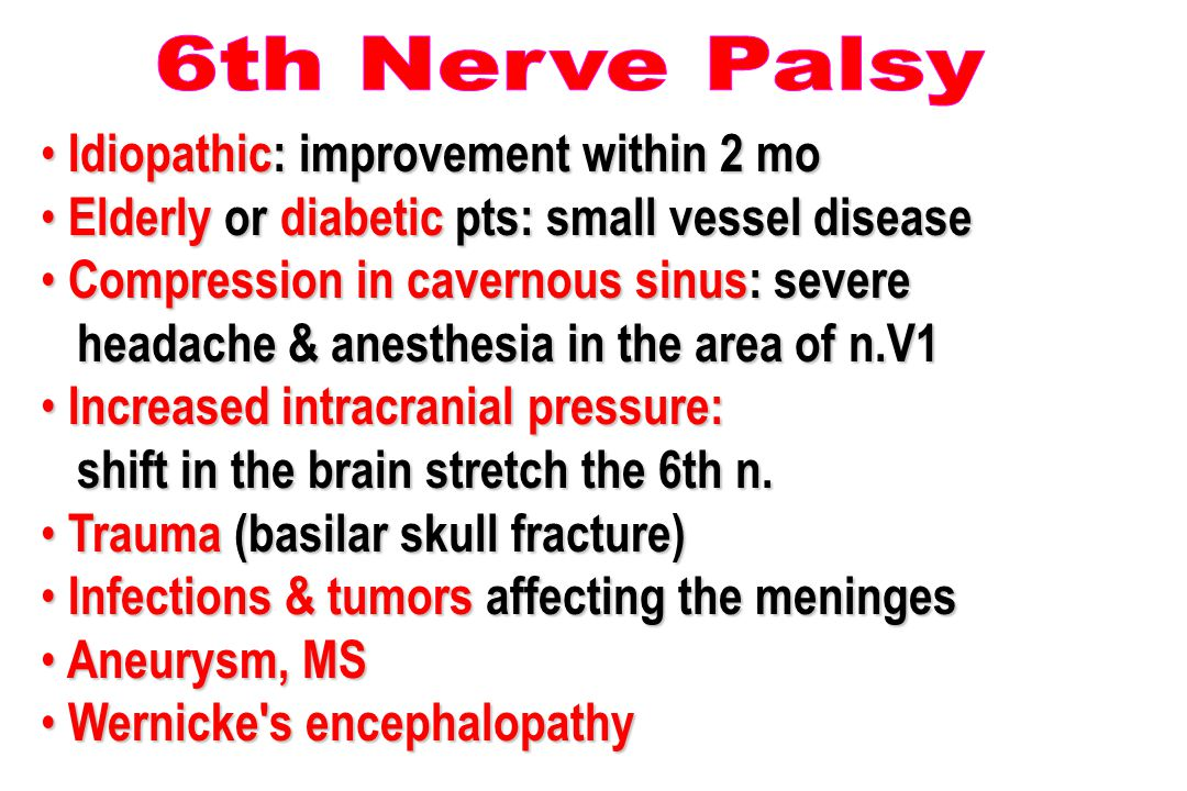 6th Nerve Palsy Idiopathic: improvement within 2 mo. Elderly or diabetic pts: small vessel disease.
