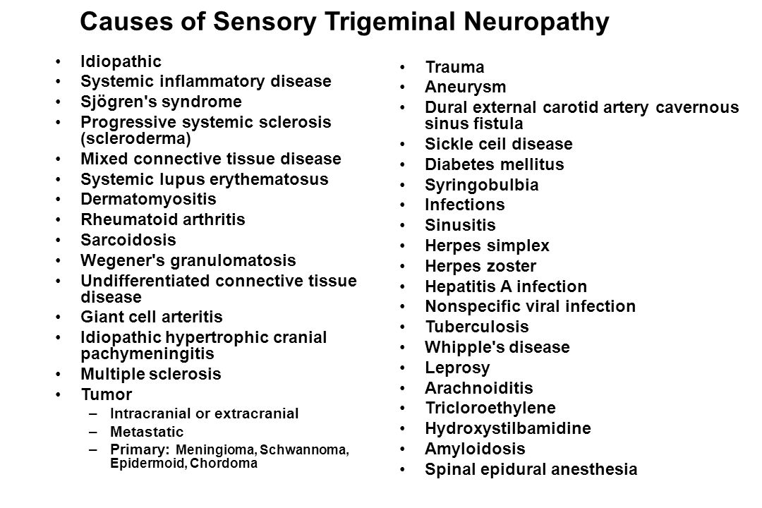 Causes of Sensory Trigeminal Neuropathy
