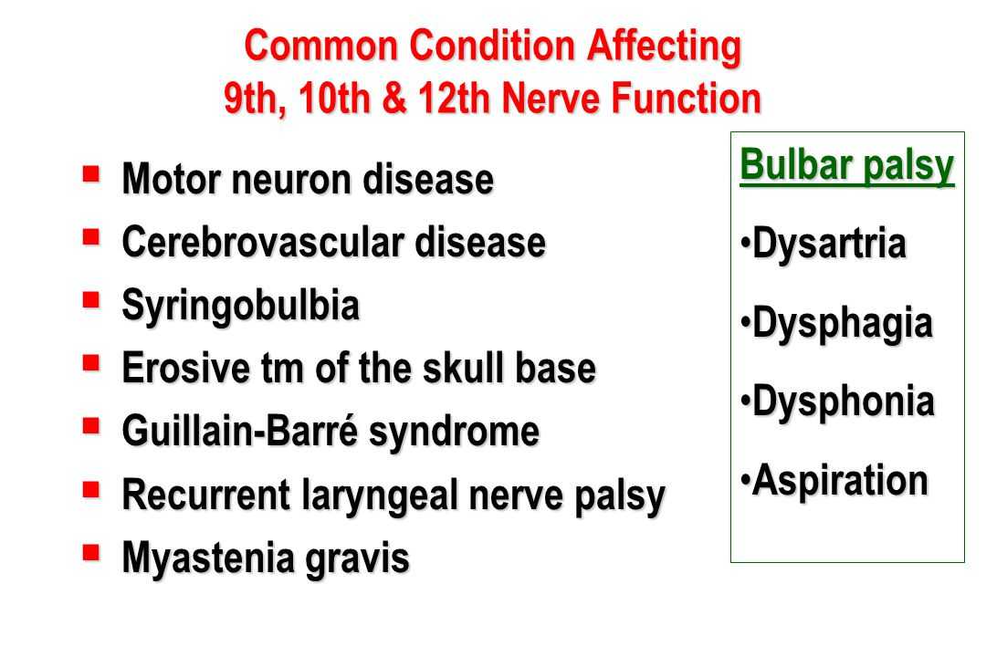 Common Condition Affecting 9th, 10th & 12th Nerve Function