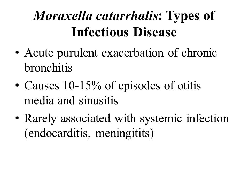 Moraxella catarrhalis: Types of Infectious Disease
