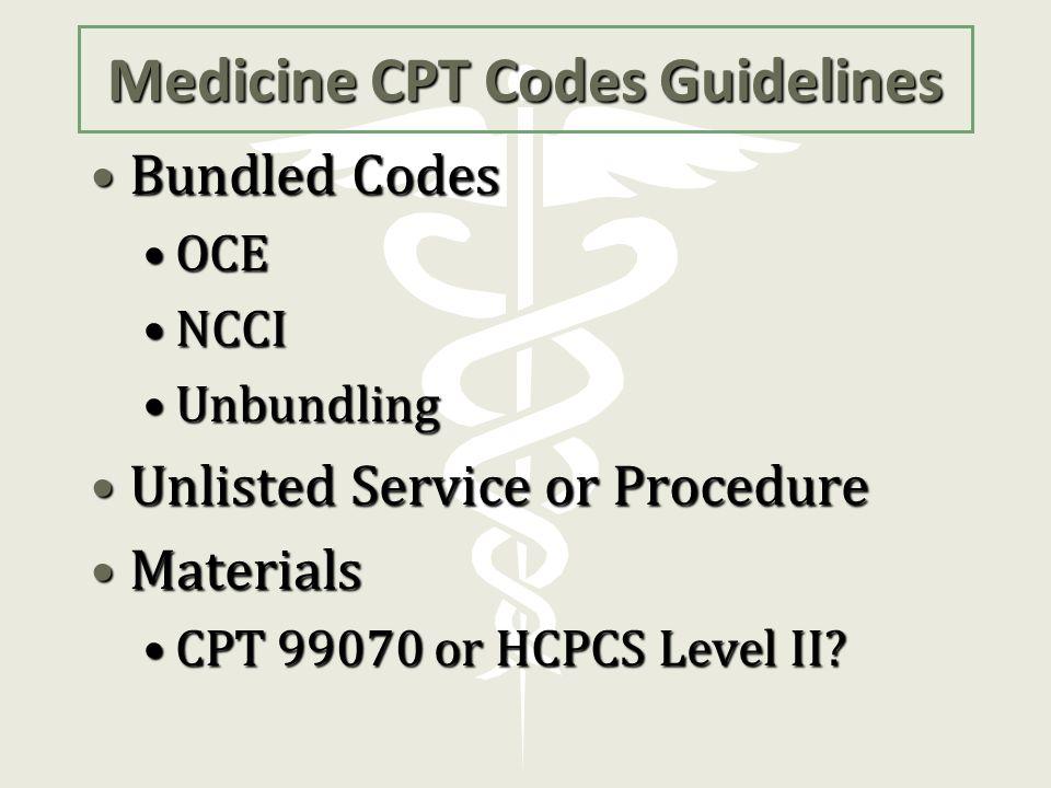 Medicine CPT Codes Guidelines
