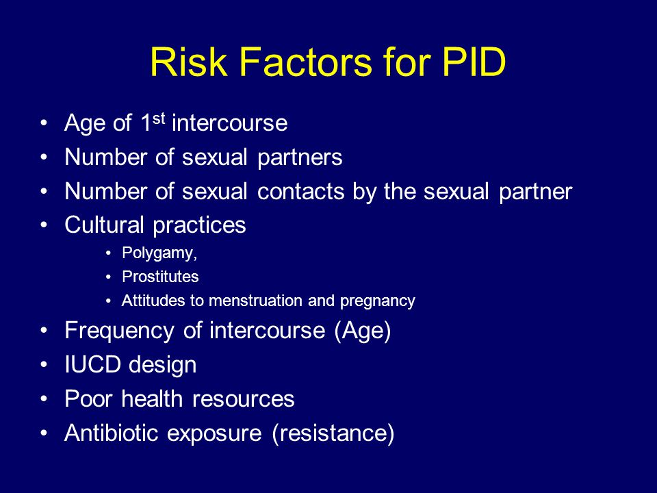 Risk Factors for PID Age of 1st intercourse Number of sexual partners