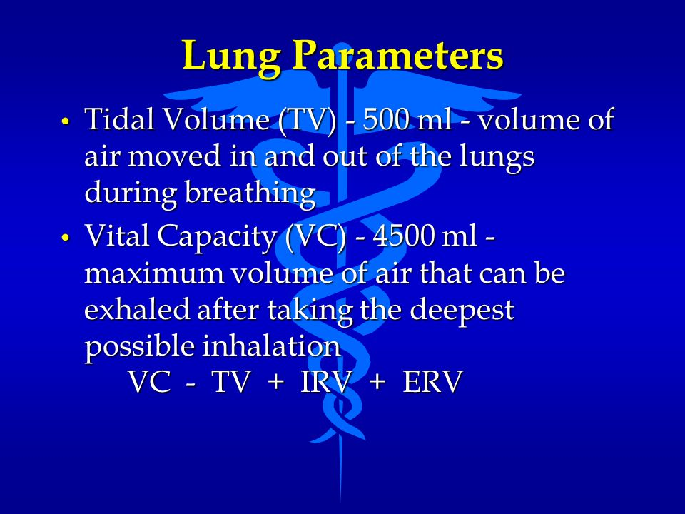 Lung Parameters Tidal Volume (TV) - 500 ml - volume of air moved in and out of the lungs during breathing.