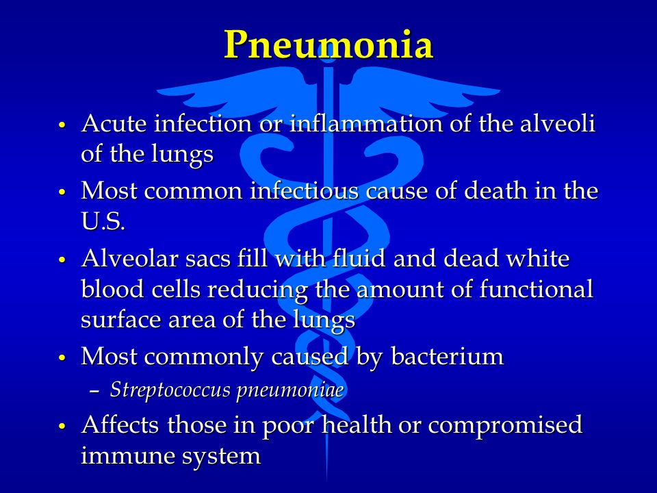 Pneumonia Acute infection or inflammation of the alveoli of the lungs