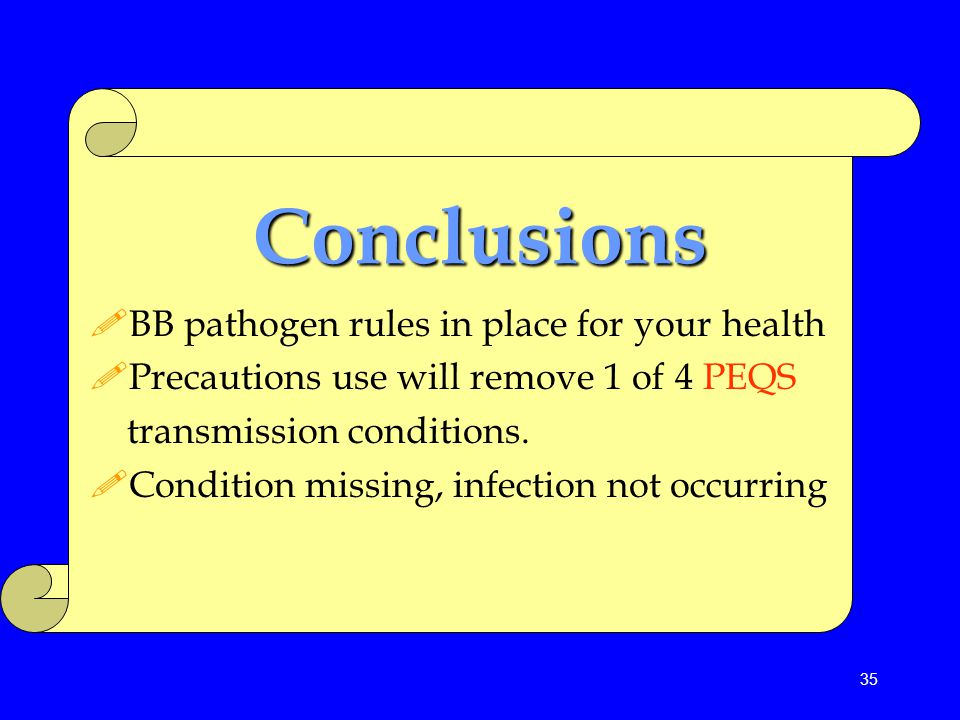 Conclusions BB pathogen rules in place for your health