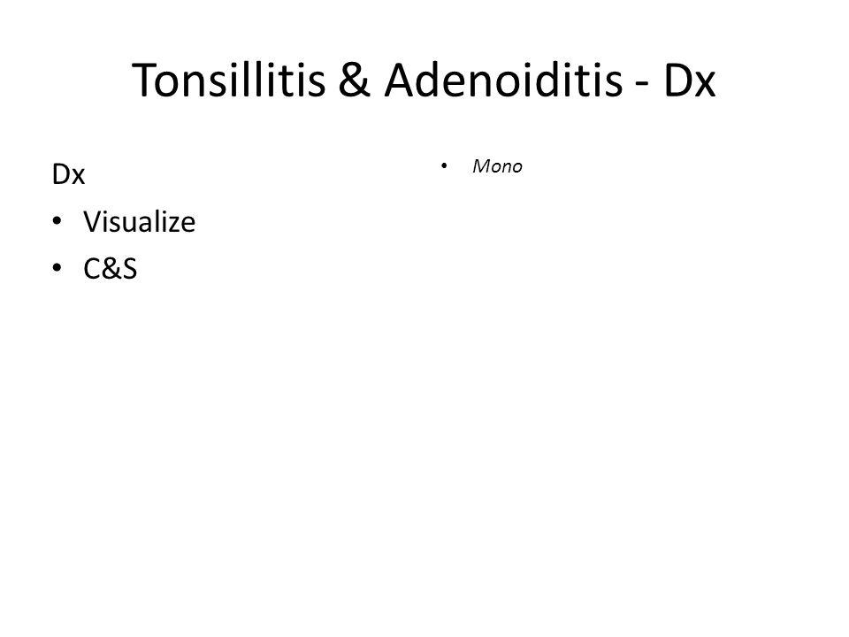 Tonsillitis & Adenoiditis - Dx