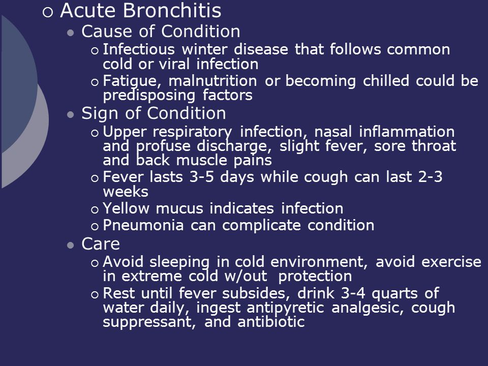 Acute Bronchitis Cause of Condition Sign of Condition Care