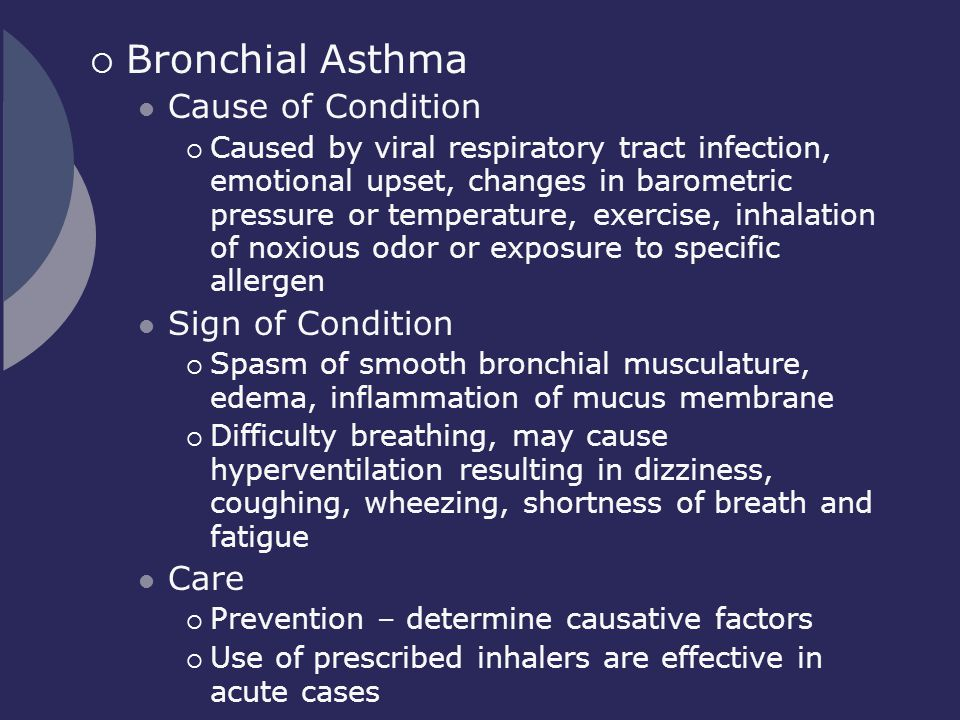 Bronchial Asthma Cause of Condition Sign of Condition Care