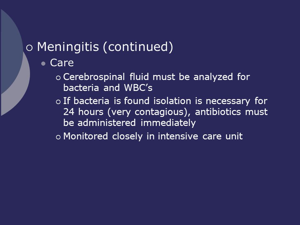 Meningitis (continued)