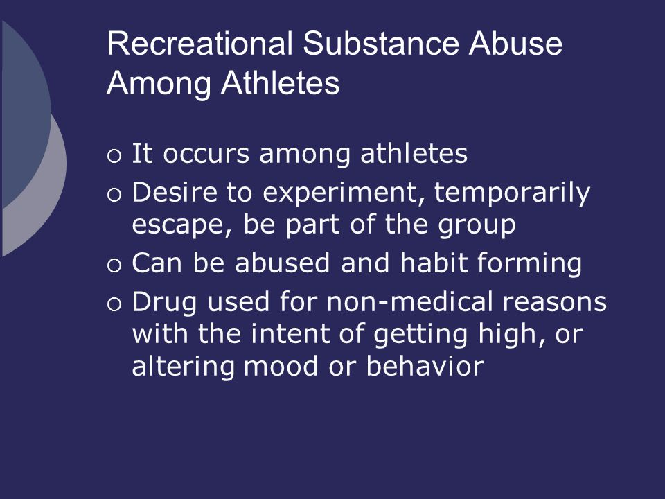 Recreational Substance Abuse Among Athletes