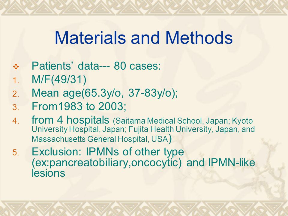 Materials and Methods Patients' data--- 80 cases: M/F(49/31)