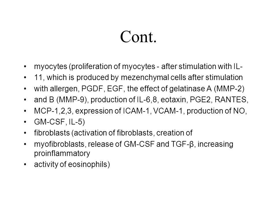 Cont. myocytes (proliferation of myocytes - after stimulation with IL-