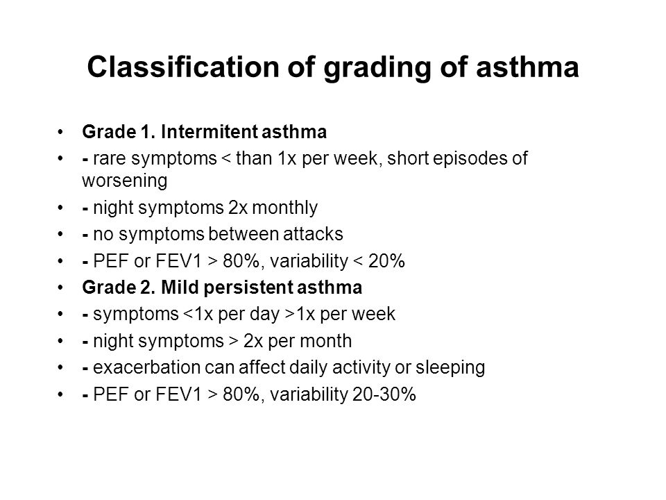 Classification of grading of asthma