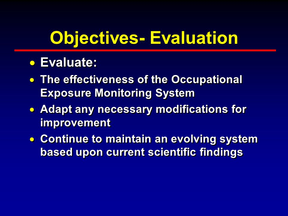 Objectives- Evaluation