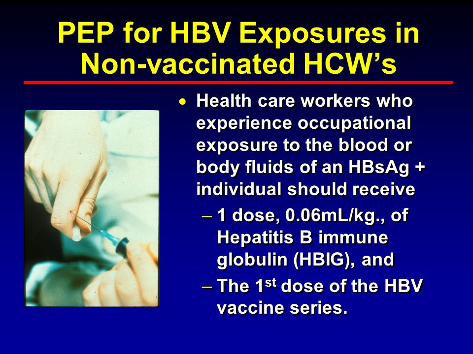 PEP for HBV Exposures in Non-vaccinated HCW's