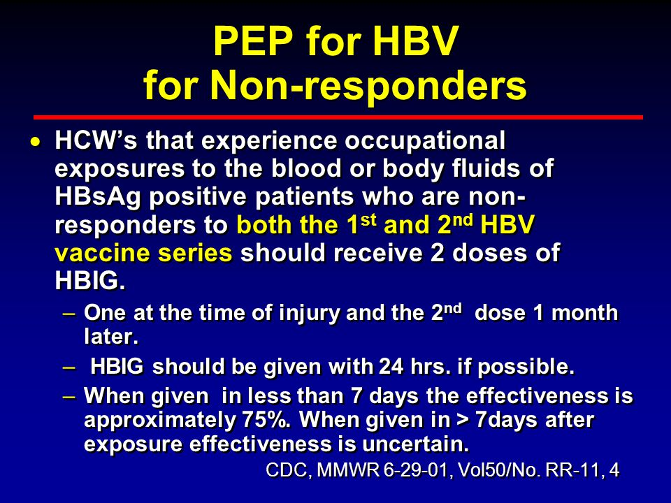 PEP for HBV for Non-responders