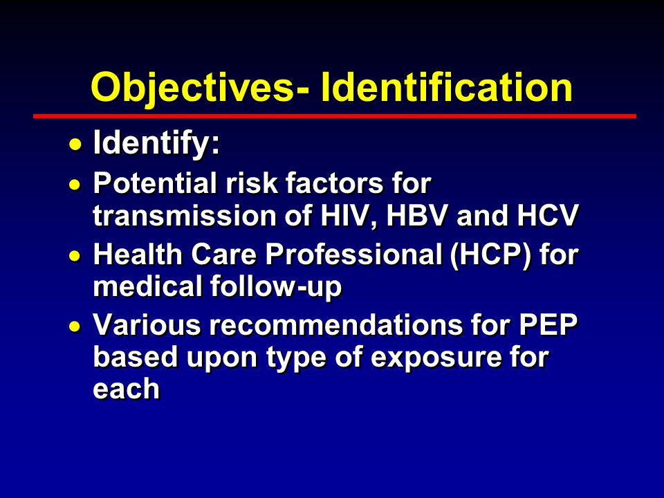 Objectives- Identification