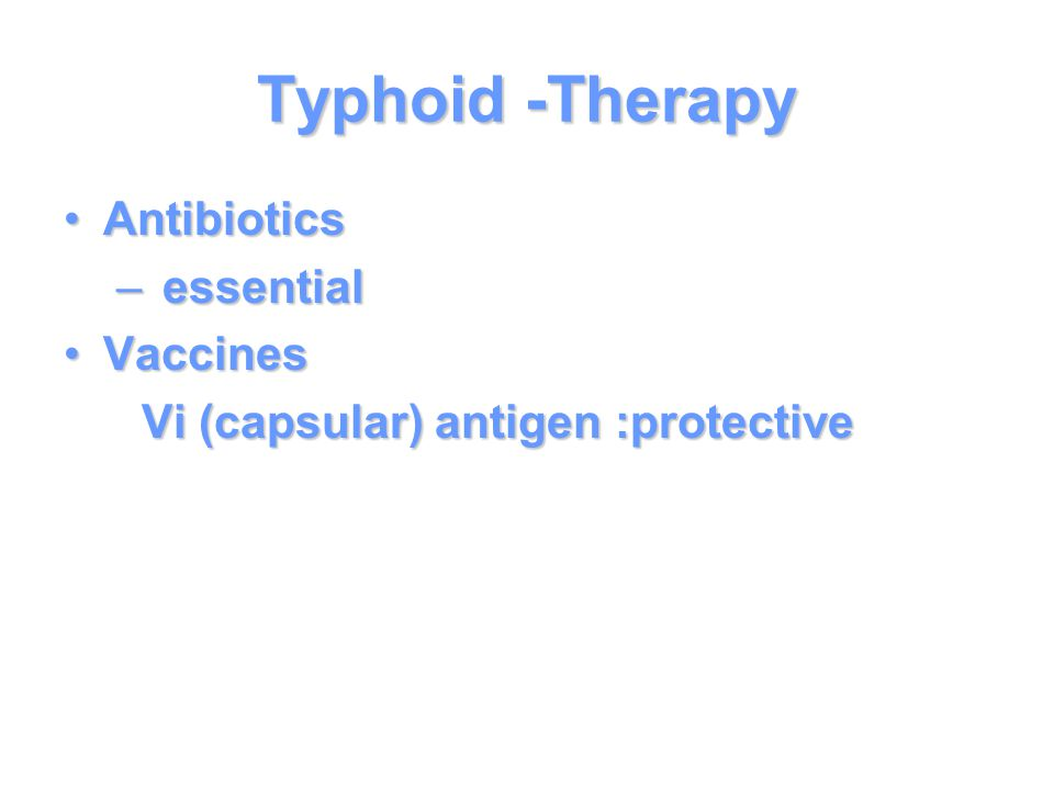 Typhoid -Therapy Antibiotics essential Vaccines