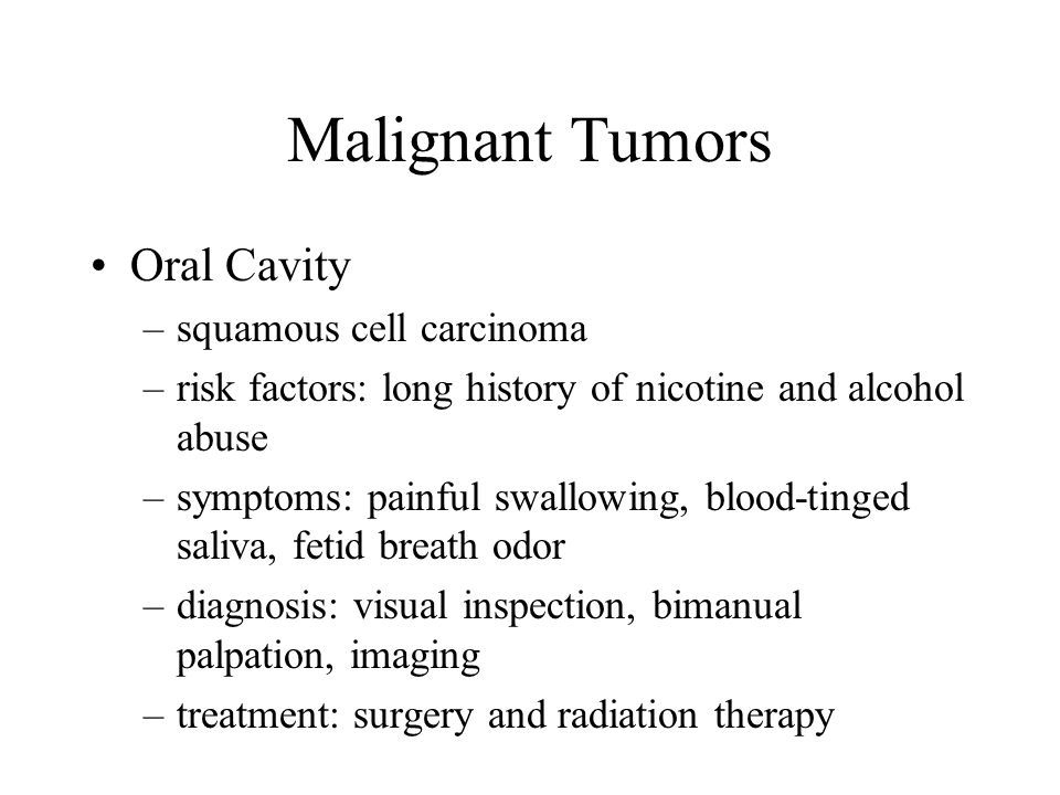 Malignant Tumors Oral Cavity squamous cell carcinoma