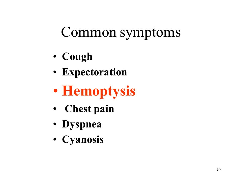 Common symptoms Hemoptysis Cough Expectoration Chest pain Dyspnea