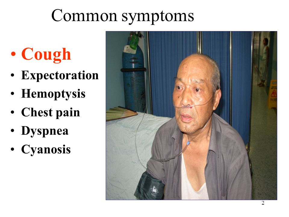 Common symptoms Cough Expectoration Hemoptysis Chest pain Dyspnea