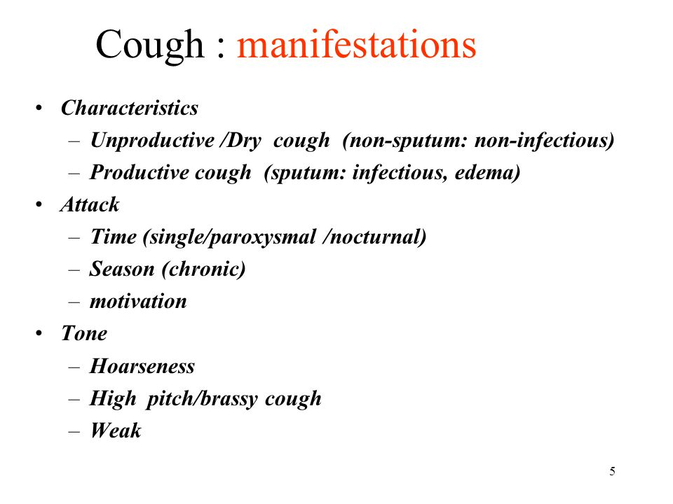 Cough : manifestations