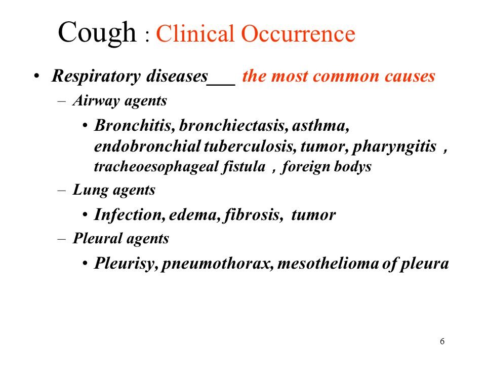 Cough : Clinical Occurrence