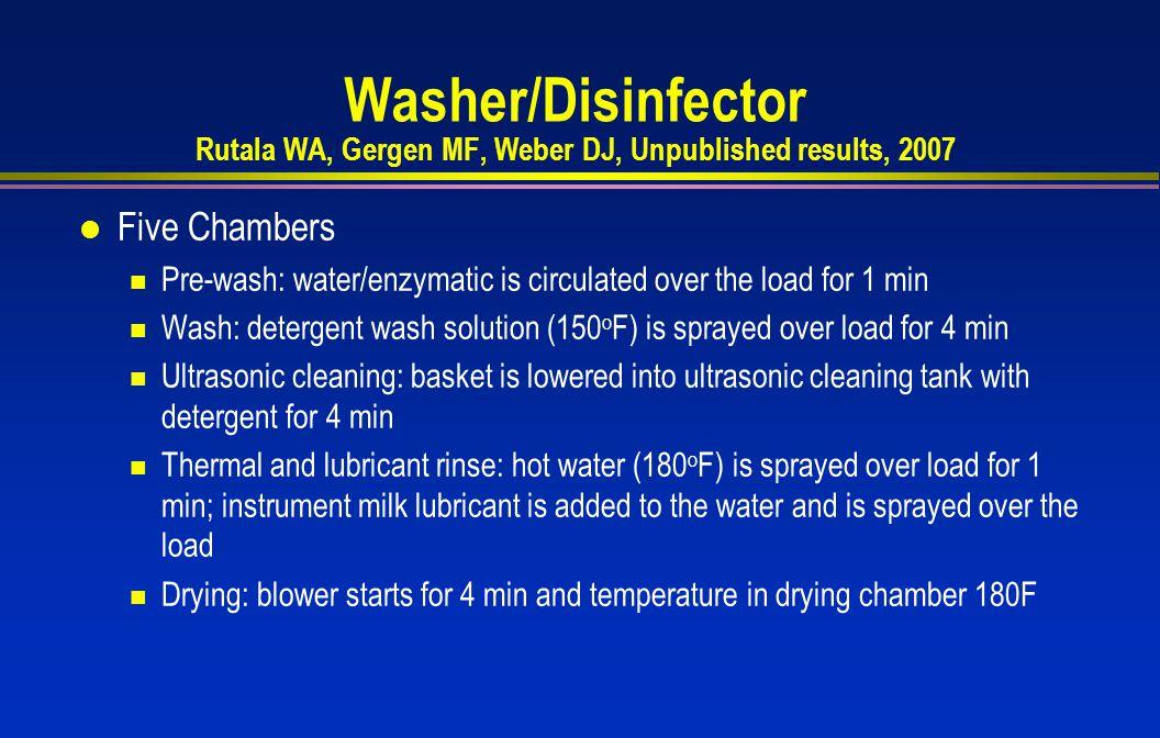 Washer/Disinfector Rutala WA, Gergen MF, Weber DJ, Unpublished results, 2007